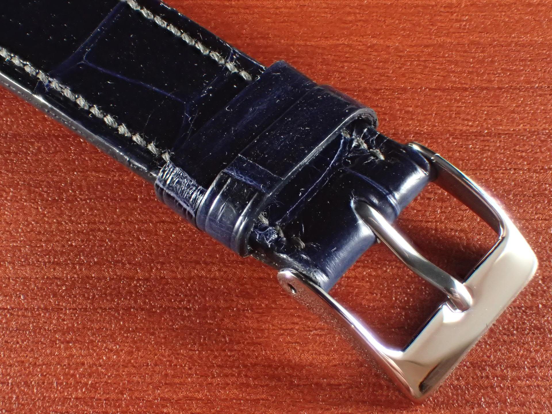 ジャン・クロード ペラン革ベルト クロコダイル ネイビー(シャイニー)18mmの写真3枚目