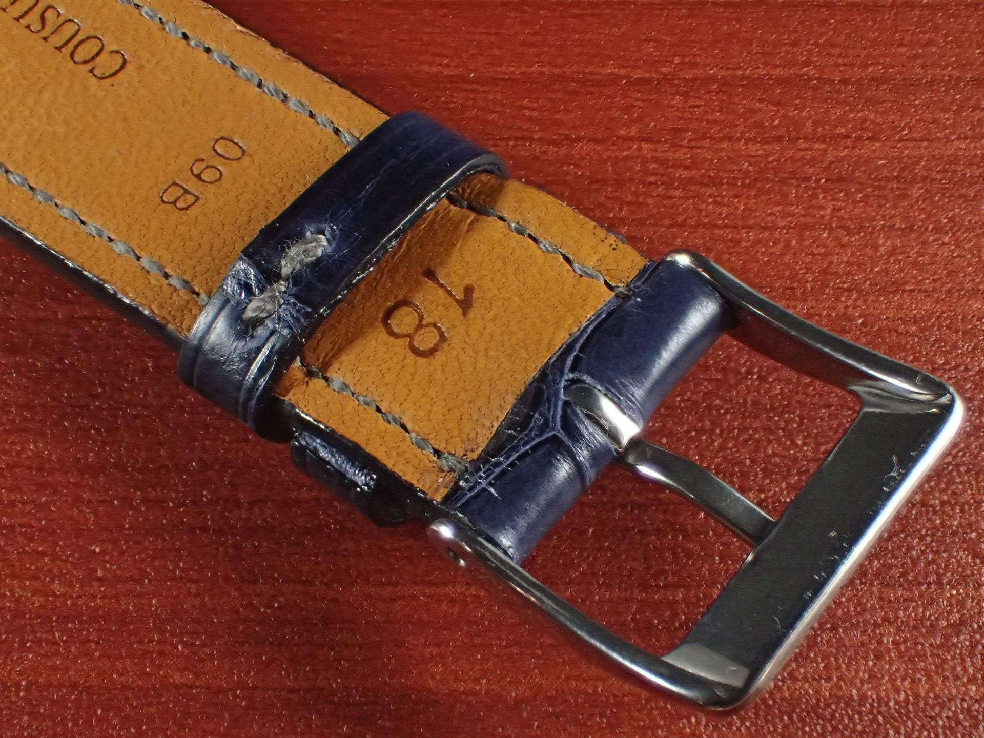 ジャン・クロード ペラン革ベルト クロコダイル ネイビー(シャイニー)18mmの写真4枚目