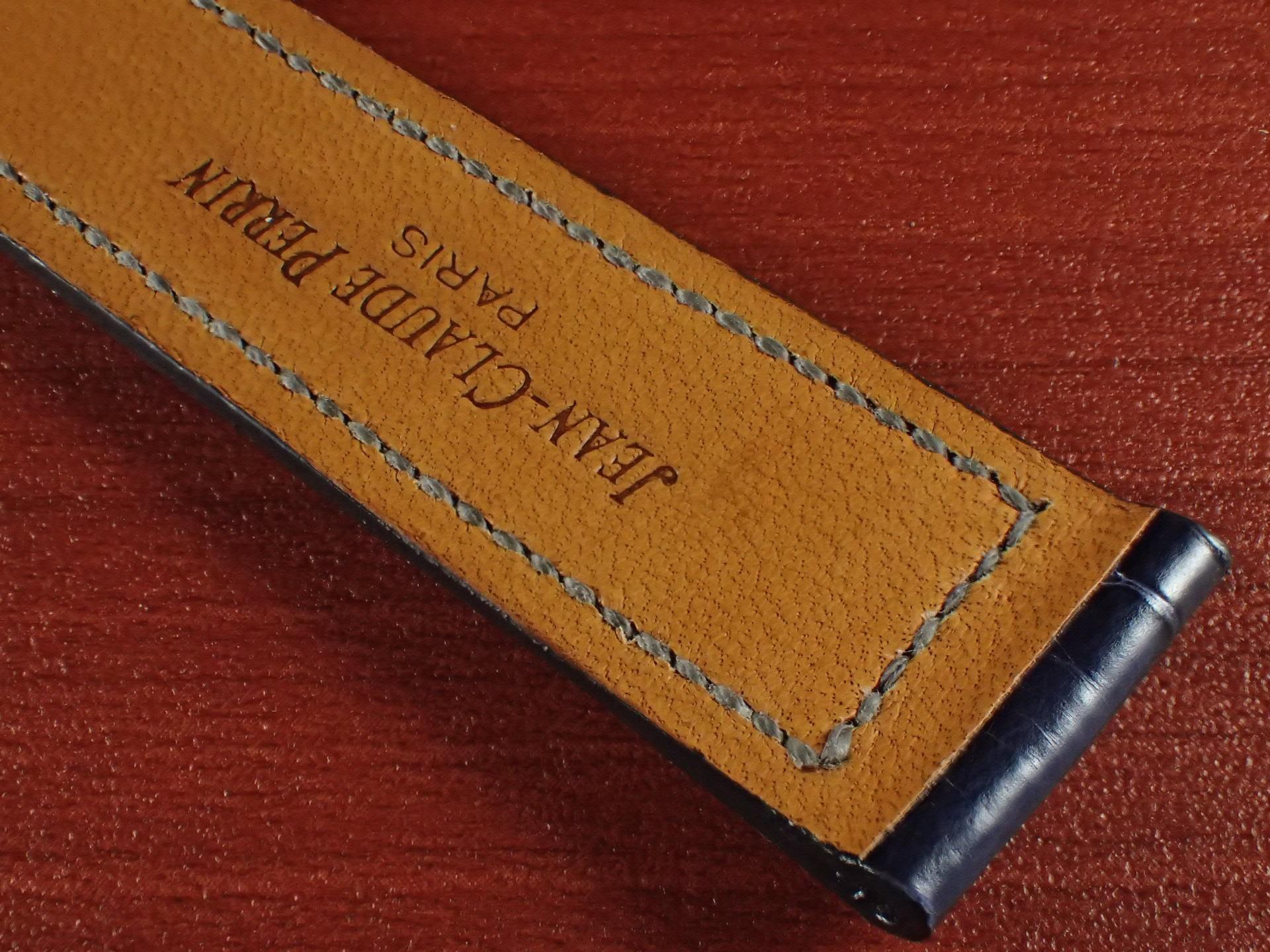 ジャン・クロード ペラン革ベルト クロコダイル ネイビー(シャイニー)18mmの写真6枚目