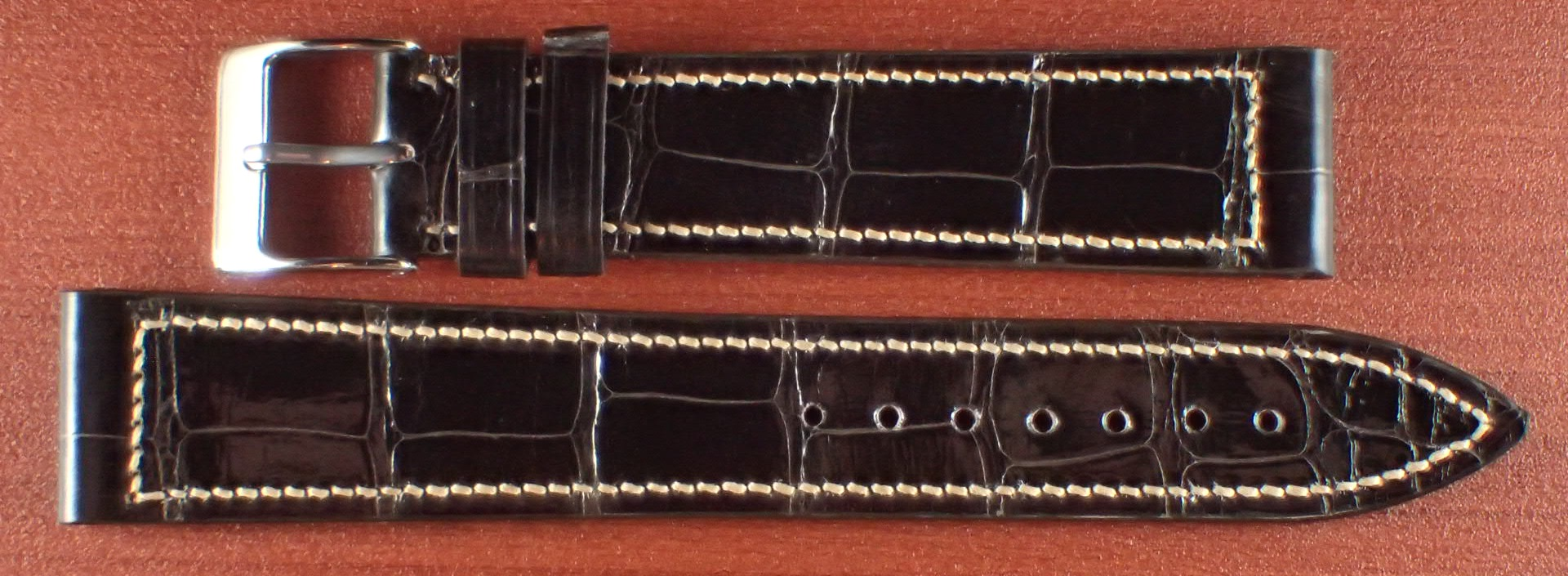 ジャン・クロード ペラン革ベルト クロコダイル チョコレート(シャイニー) 18mm