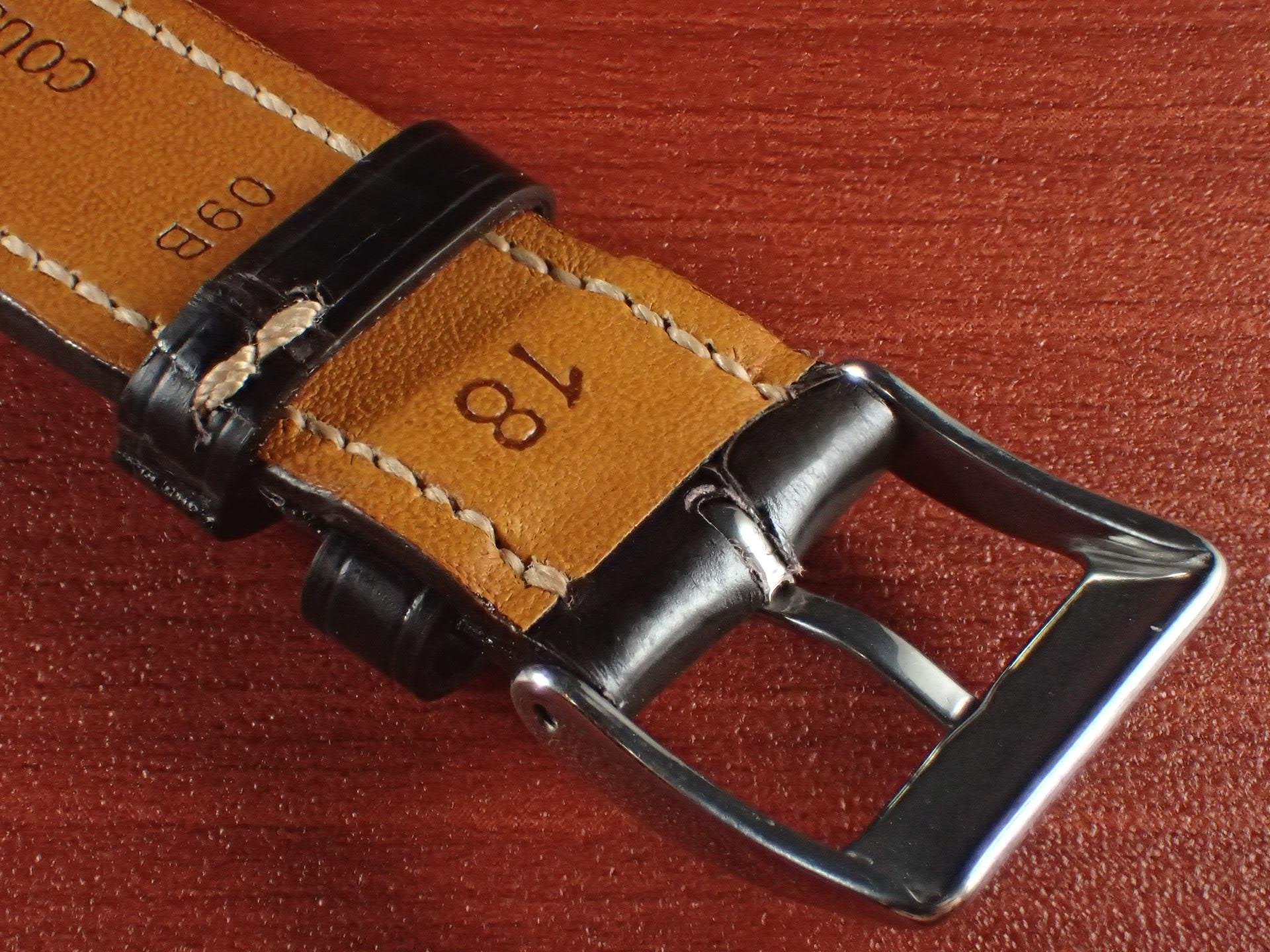 ジャン・クロード ペラン革ベルト クロコダイル チョコレート(シャイニー) 18mmの写真4枚目