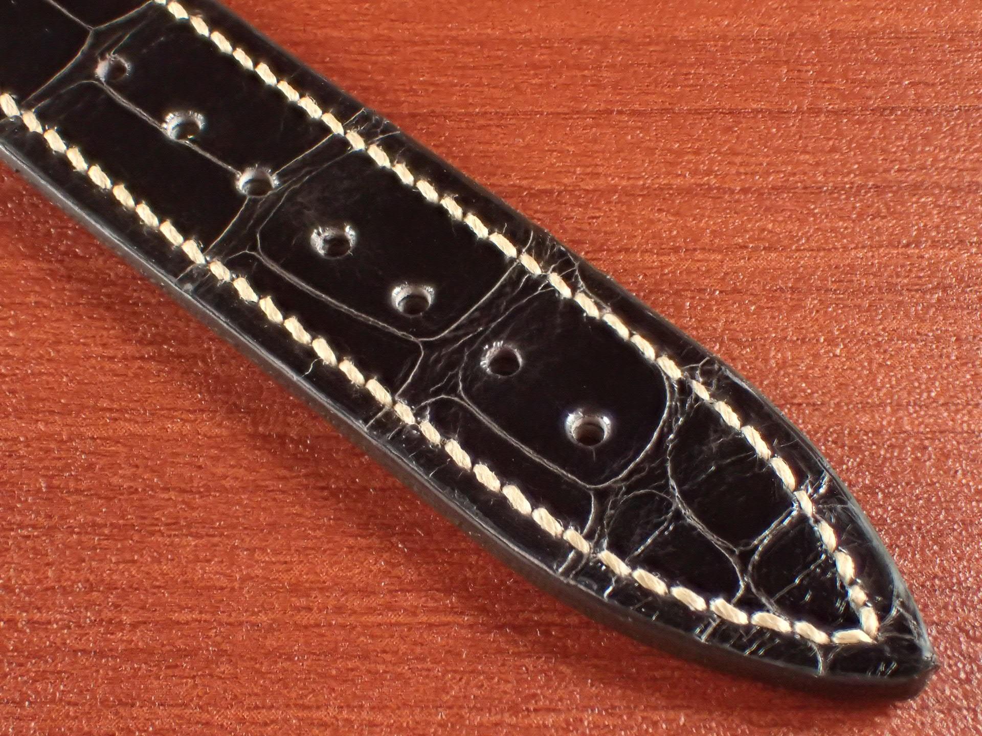 ジャン・クロード ペラン革ベルト クロコダイル チョコレート(シャイニー) 18mmの写真5枚目