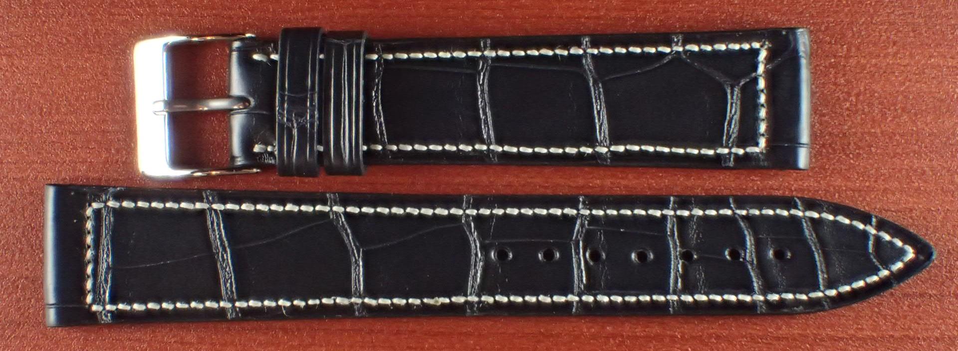 ジャン・クロード ペラン革ベルト クロコダイル ミッドナイトブルー 18mm
