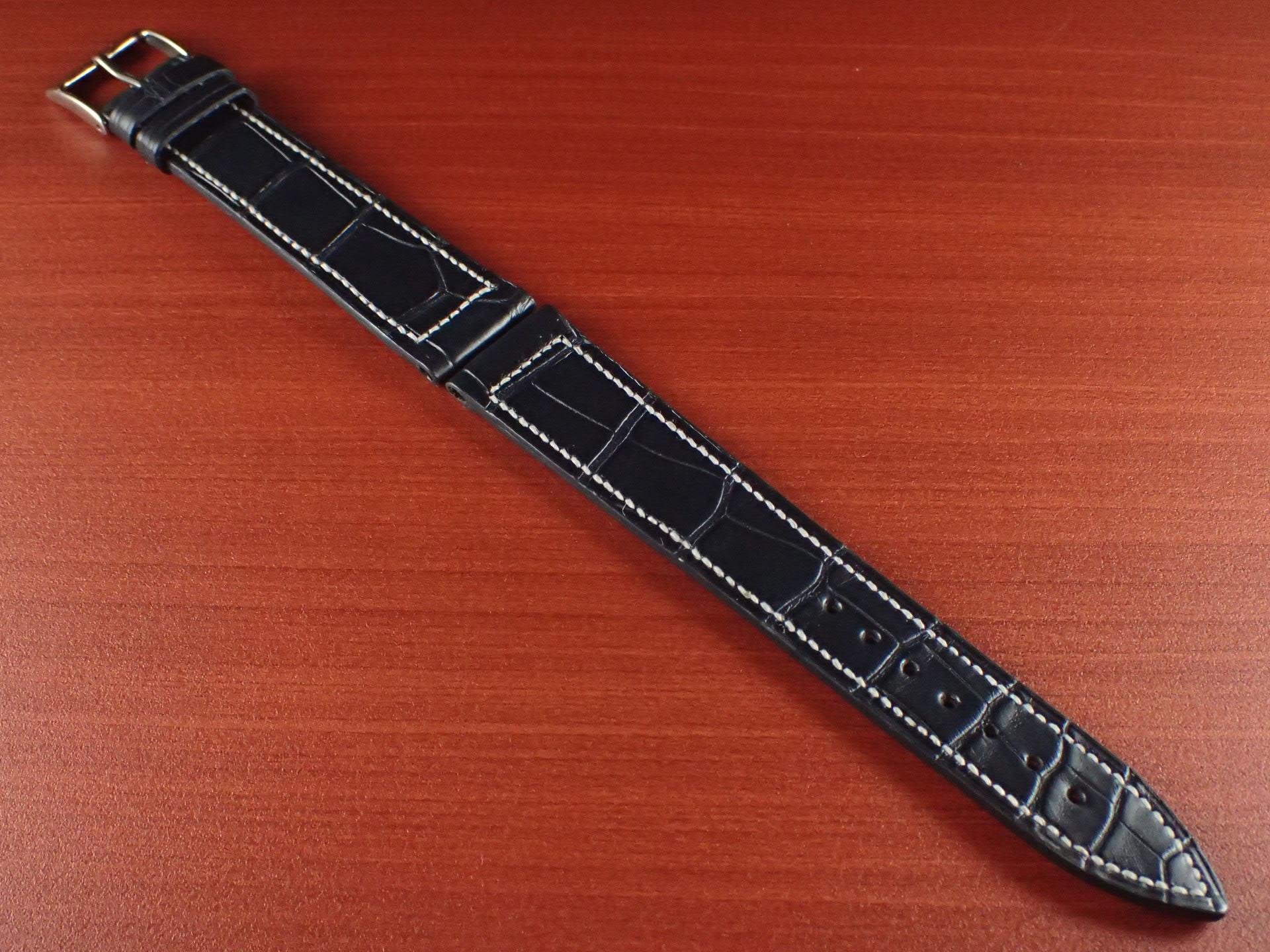 ジャン・クロード ペラン革ベルト クロコダイル ミッドナイトブルー 18mmのメイン写真