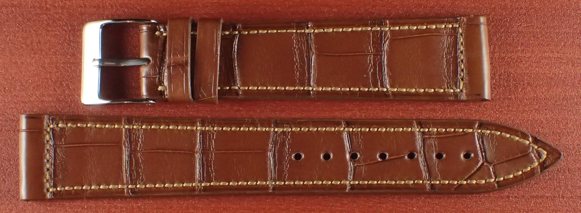 ジャン・クロード ペラン革ベルト クロコダイル ライトブラウン 18mm