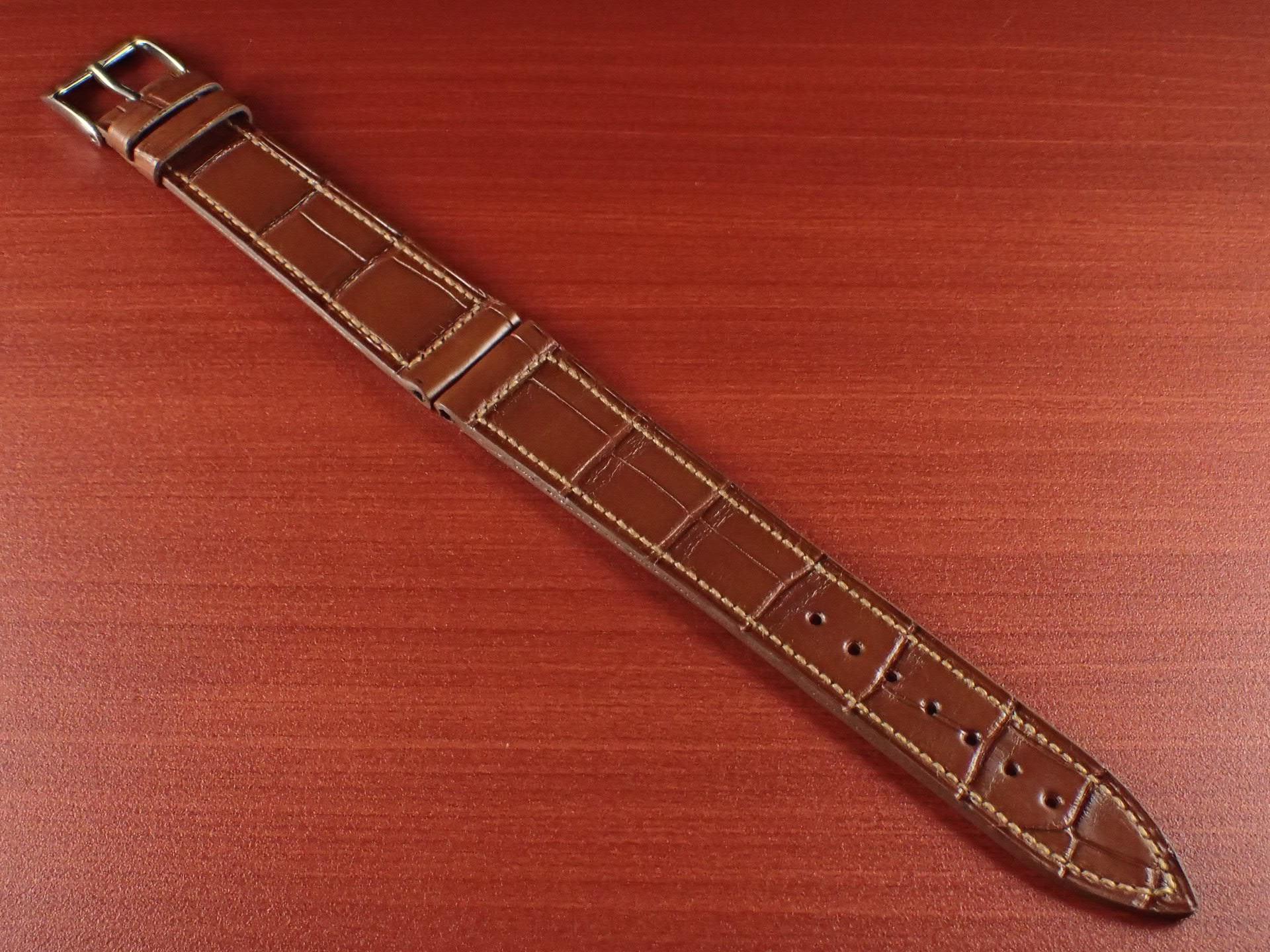ジャン・クロード ペラン革ベルト クロコダイル ライトブラウン 18mmのメイン写真