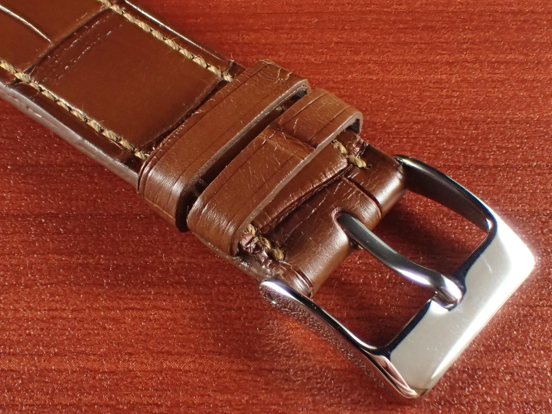 ジャン・クロード ペラン革ベルト クロコダイル ライトブラウン 18mmの写真3枚目