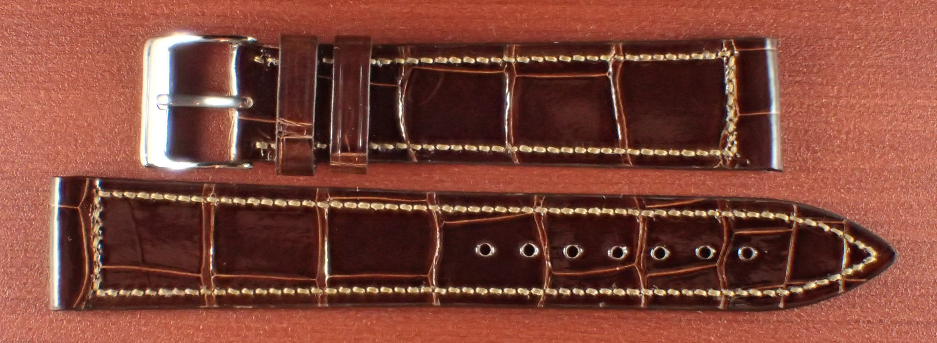 ジャン・クロード ペラン革ベルト クロコダイル タバコブラウン(シャイニー) 18mm