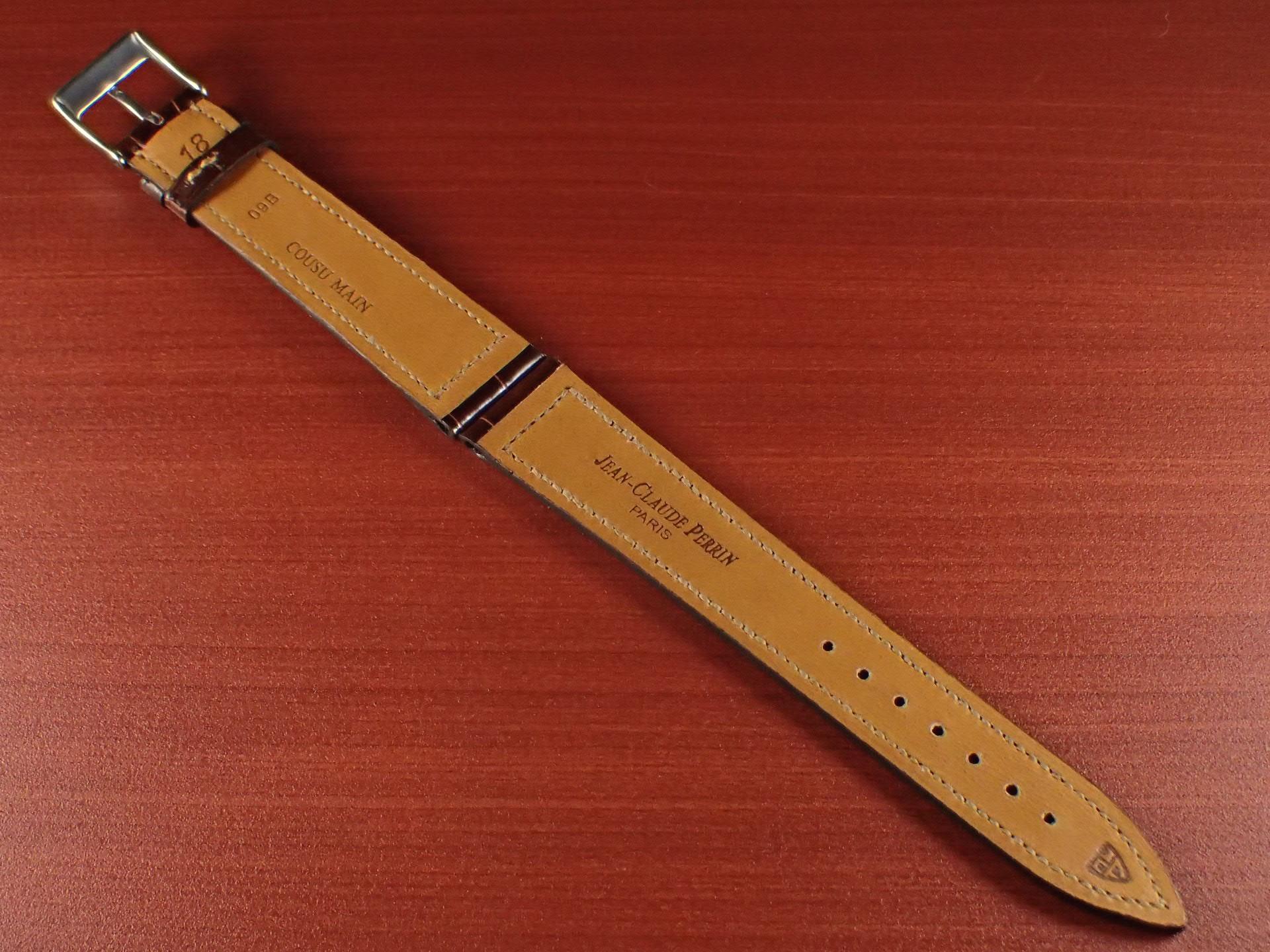 ジャン・クロード ペラン革ベルト クロコダイル タバコブラウン(シャイニー) 18mmの写真2枚目