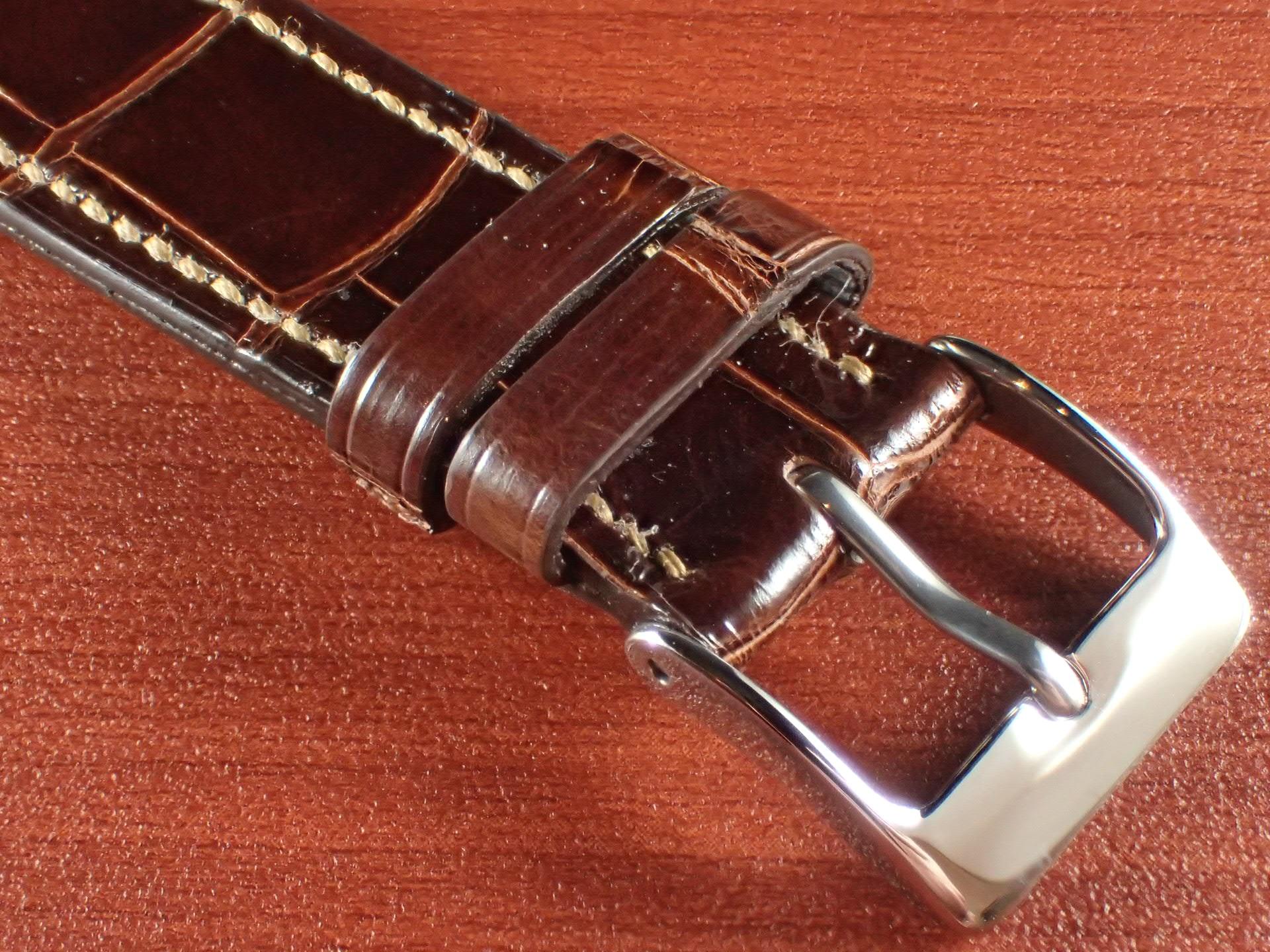 ジャン・クロード ペラン革ベルト クロコダイル タバコブラウン(シャイニー) 18mmの写真3枚目