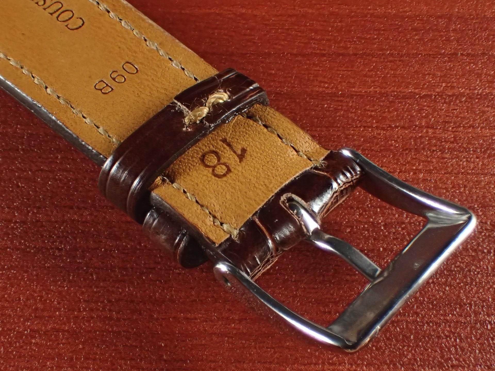 ジャン・クロード ペラン革ベルト クロコダイル タバコブラウン(シャイニー) 18mmの写真4枚目