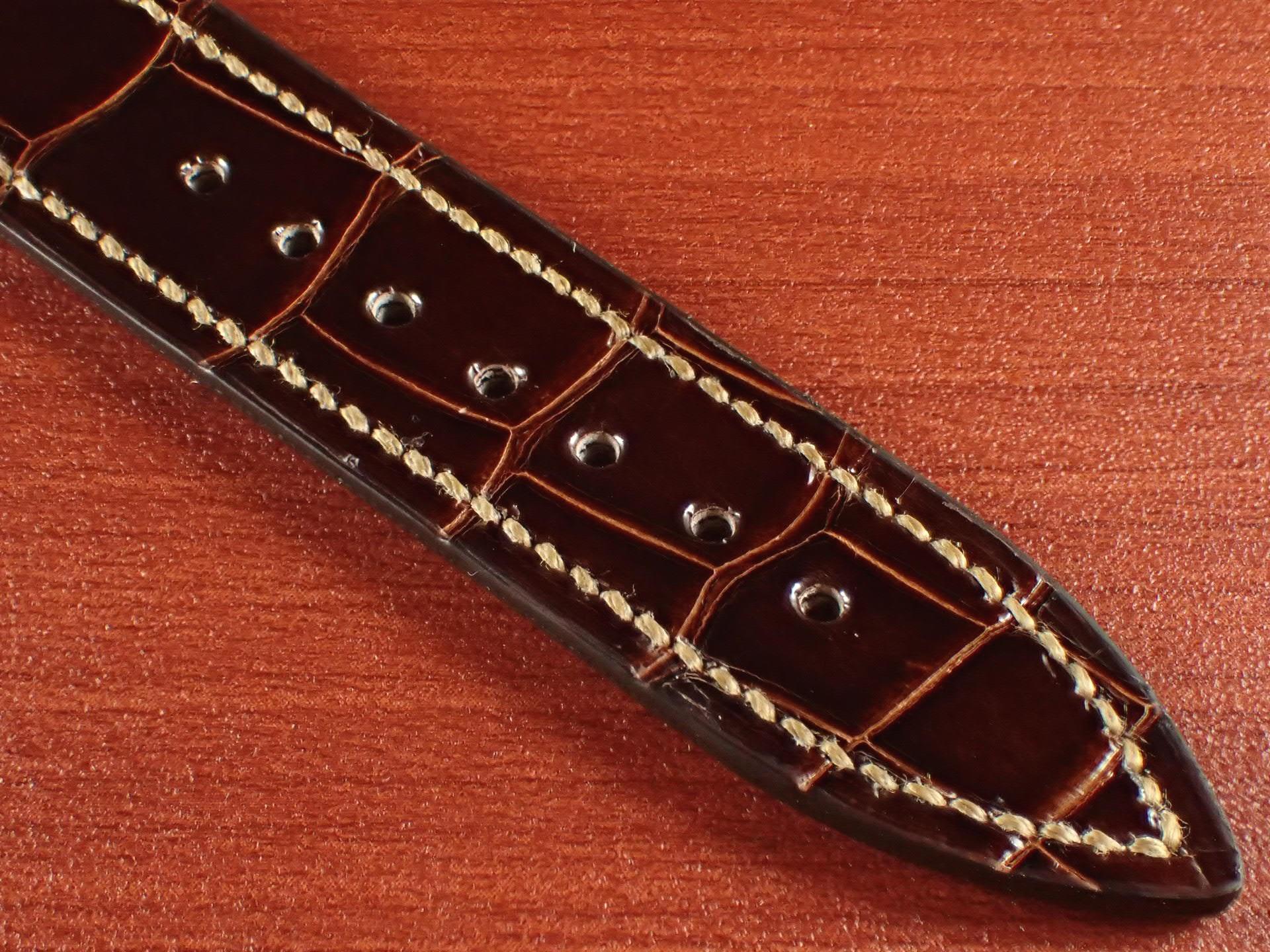 ジャン・クロード ペラン革ベルト クロコダイル タバコブラウン(シャイニー) 18mmの写真5枚目