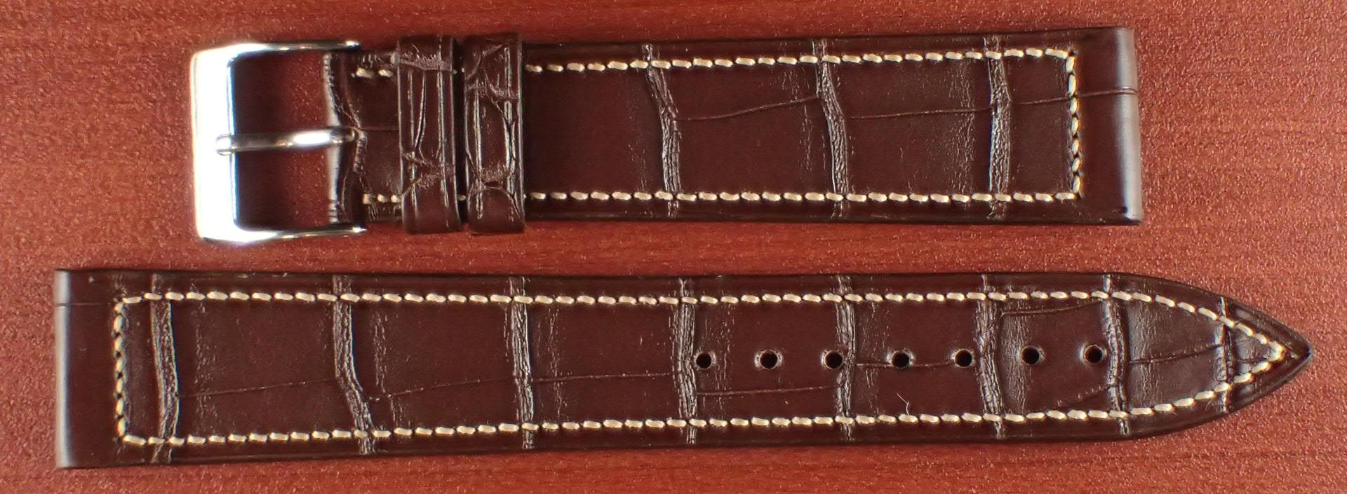 ジャン・クロード ペラン革ベルト クロコダイル ダークブラウン 18mm