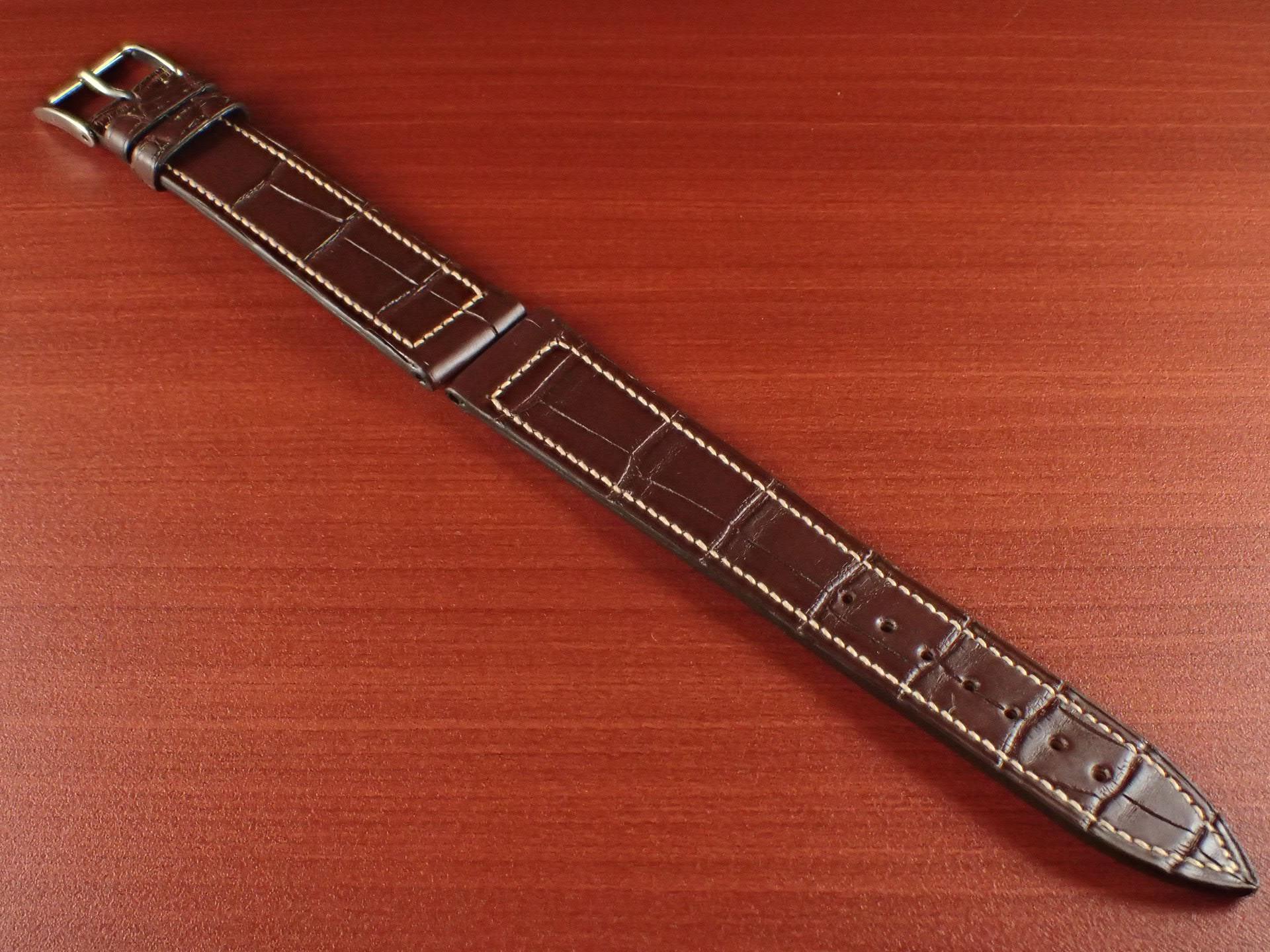ジャン・クロード ペラン革ベルト クロコダイル ダークブラウン 18mmのメイン写真