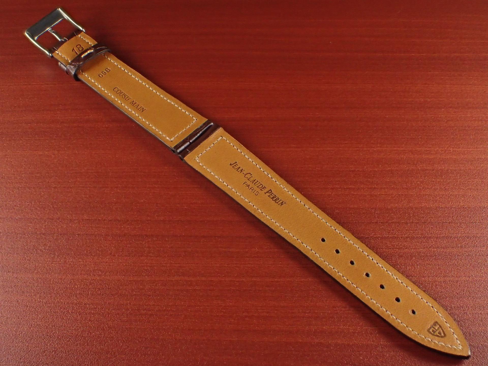 ジャン・クロード ペラン革ベルト クロコダイル ダークブラウン 18mmの写真2枚目