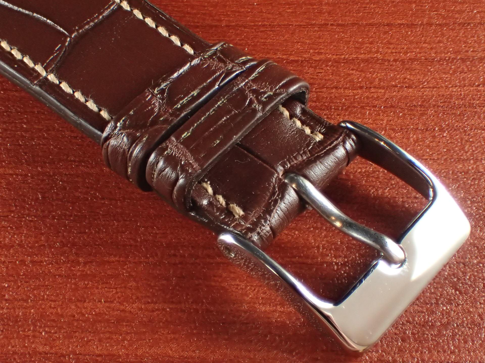 ジャン・クロード ペラン革ベルト クロコダイル ダークブラウン 18mmの写真3枚目