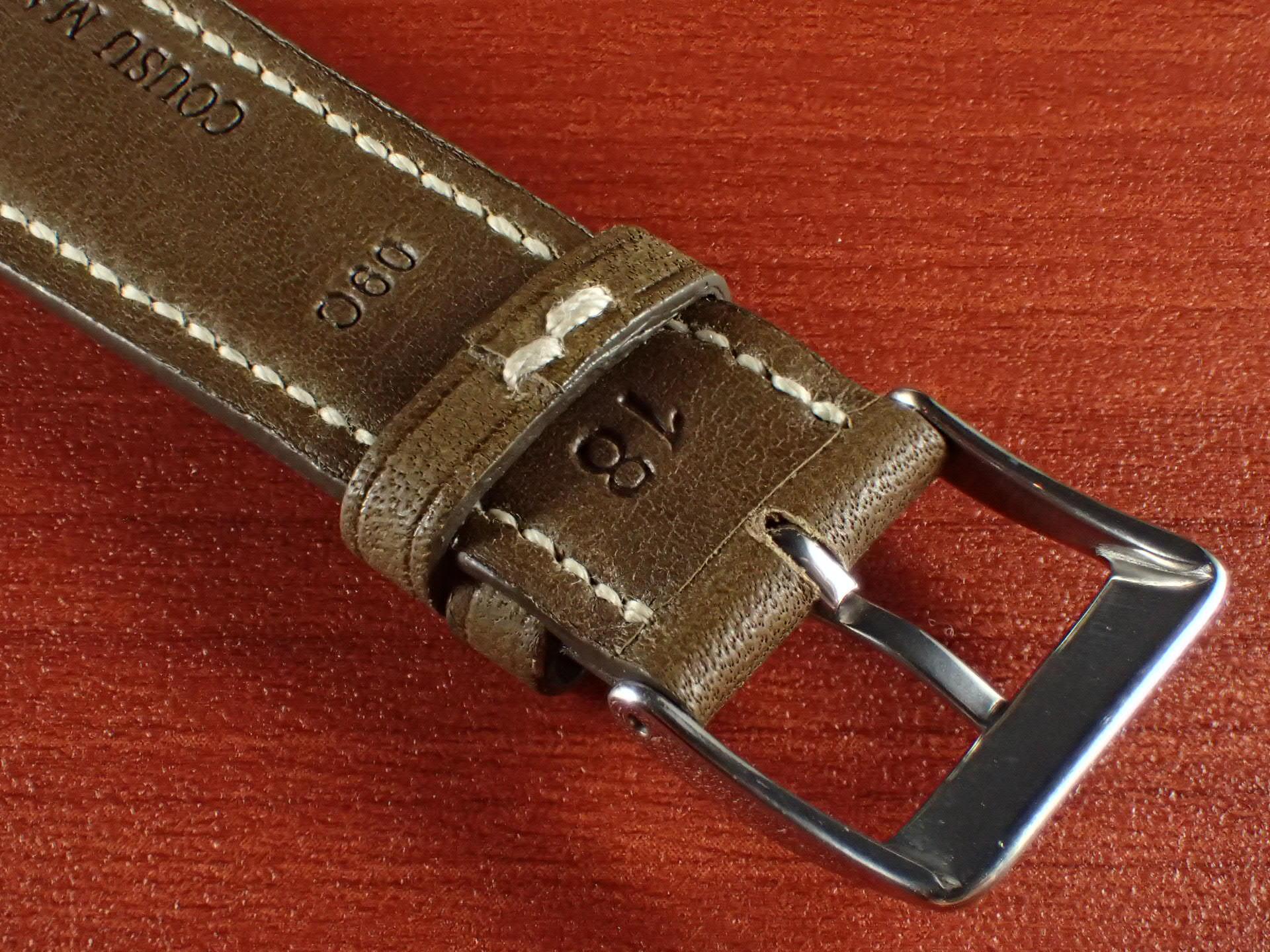ジャン・クロード ペラン革ベルト カーフ オリーブ 16、17、18、19、20mmの写真4枚目