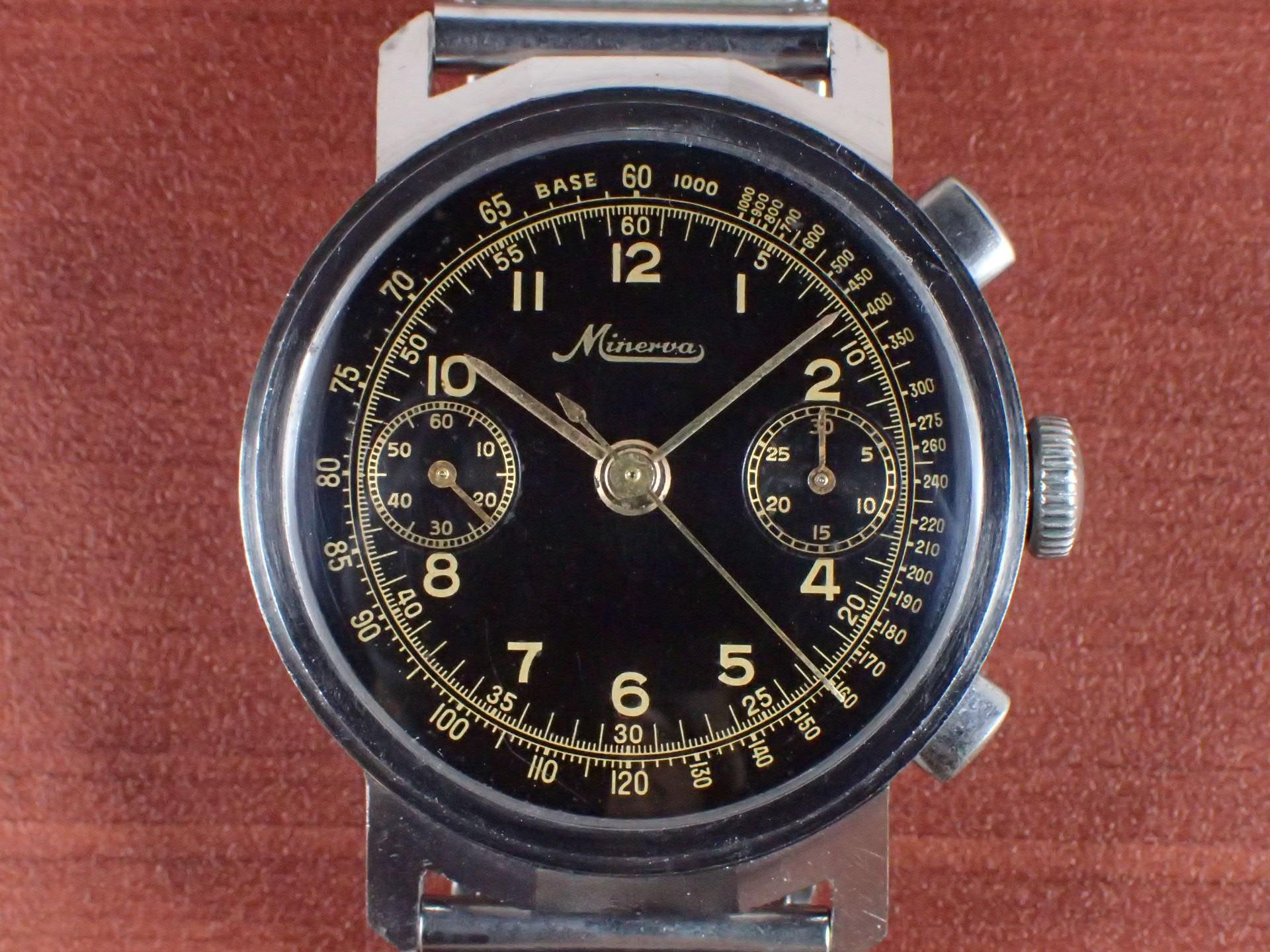 ミネルバ クロノグラフ Cal.13-20CH ブラックミラーダイアル 1930年代の写真2枚目