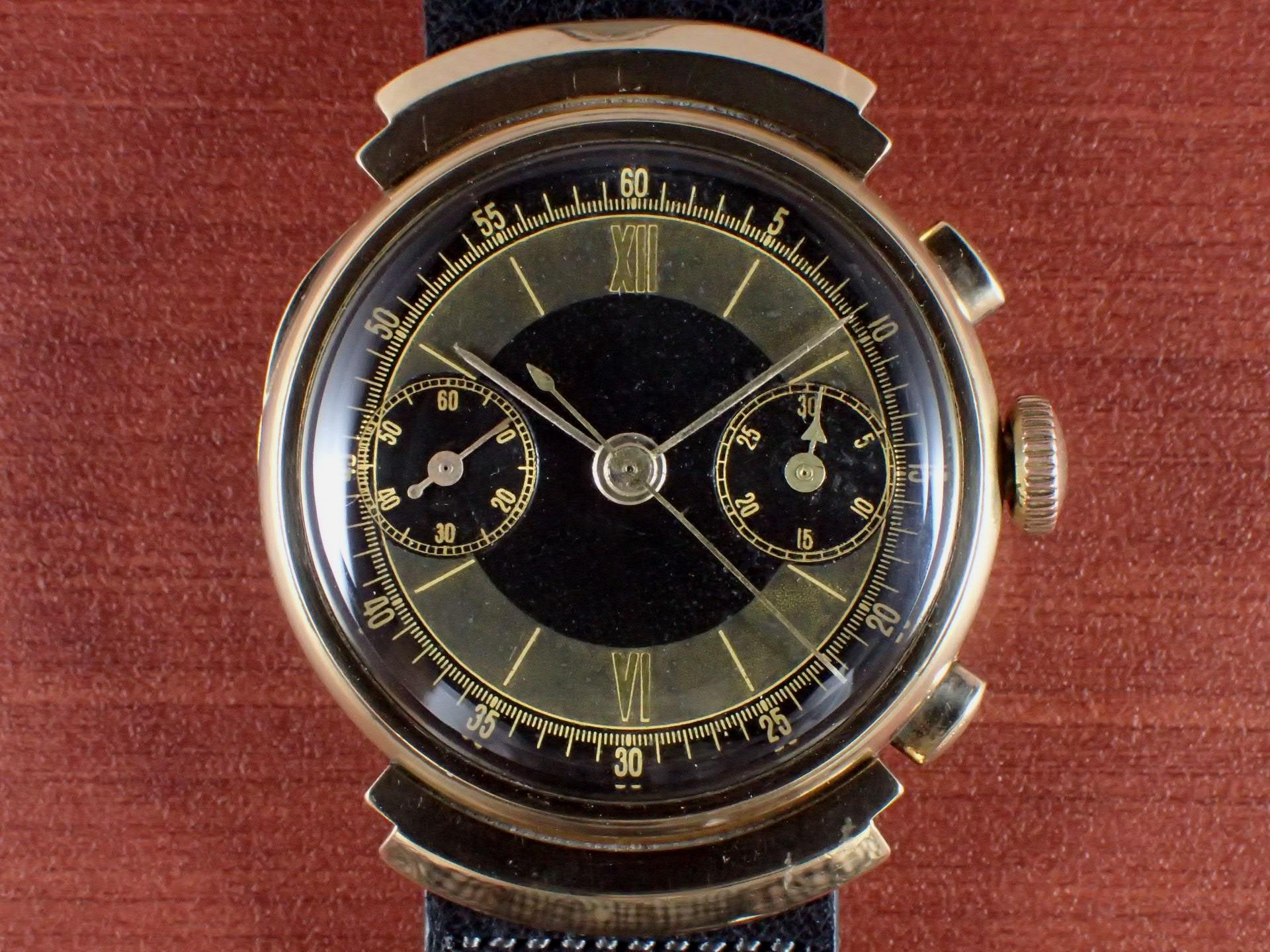 無銘 18KYG クロノグラフ ブラック/グレー フーデッドラグ 1930年代の写真2枚目