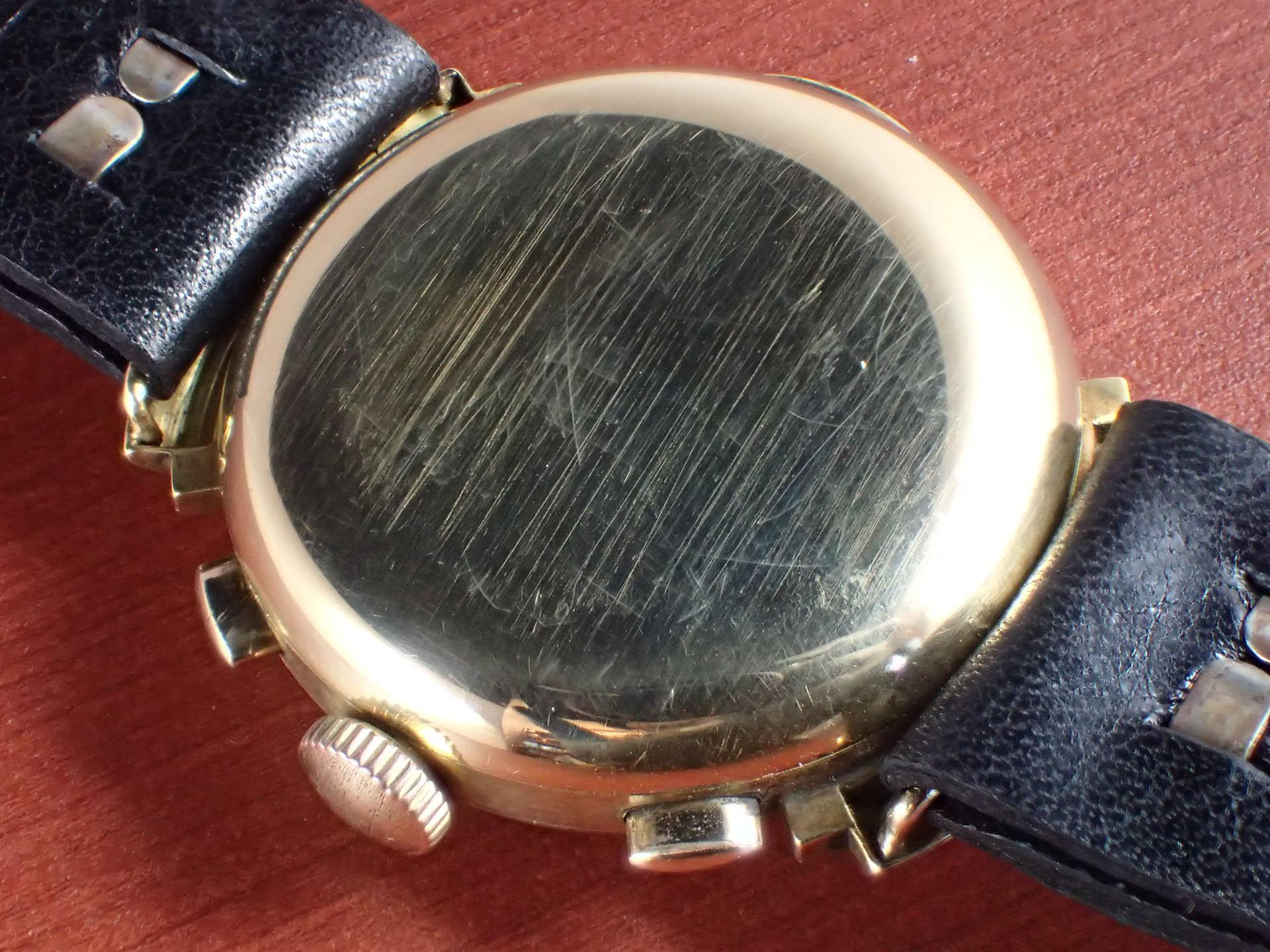 無銘 18KYG クロノグラフ ブラック/グレー フーデッドラグ 1930年代の写真4枚目