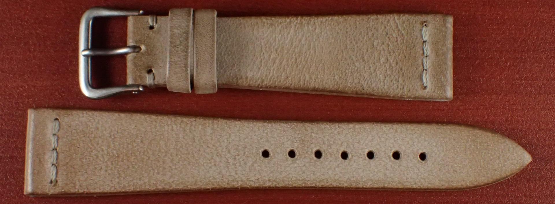 ブライドルレザーベルト ラ・ペルラ・アッズーラ アラスカ 一文字ステッチ ナチュラル 18、20mm