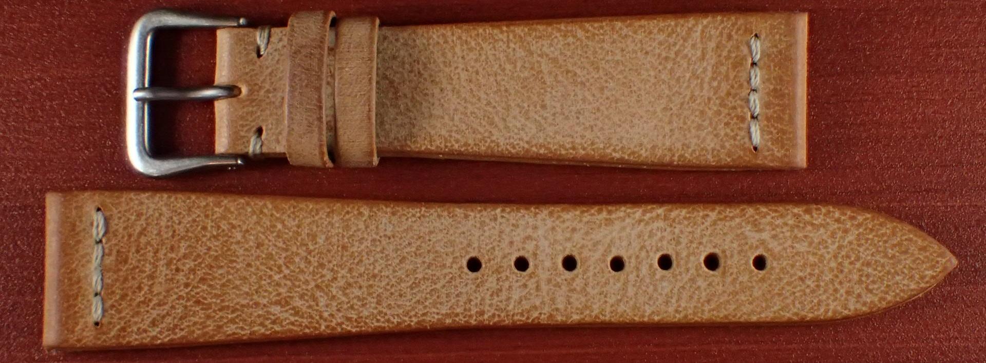 ブライドルレザーベルト ラ・ペルラ・アッズーラ アラスカ 一文字ステッチ ブラウン 18、20mm