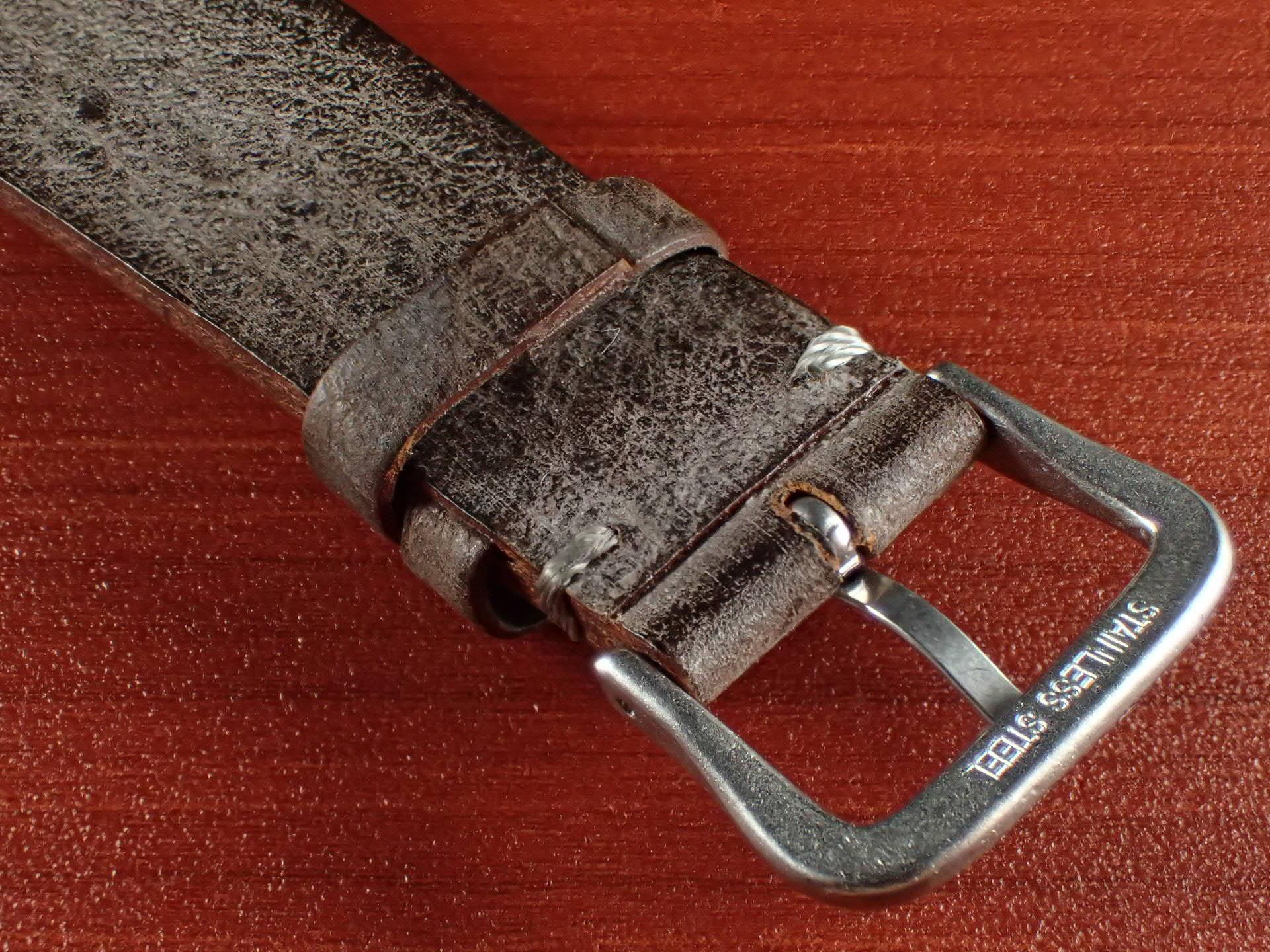 ブライドルレザーベルト ラ・ペルラ・アッズーラ アラスカ 一文字ステッチ ダークブラウン 18、20mmの写真4枚目