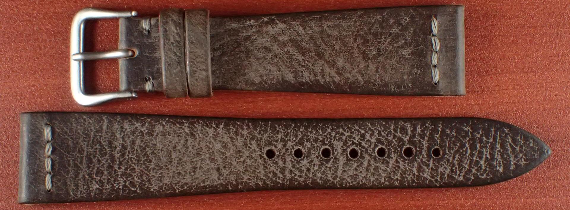ブライドルレザーベルト ラ・ペルラ・アッズーラ アラスカ 一文字ステッチ ダークブラウン 18、20mm
