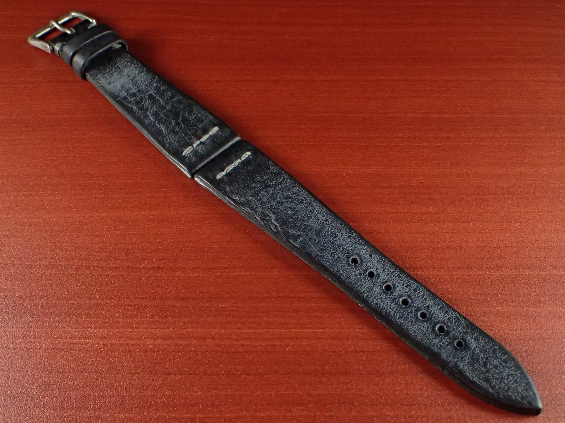 ブライドルレザーベルト ラ・ペルラ・アッズーラ アラスカ 一文字ステッチ ブラック 18、20mmのメイン写真
