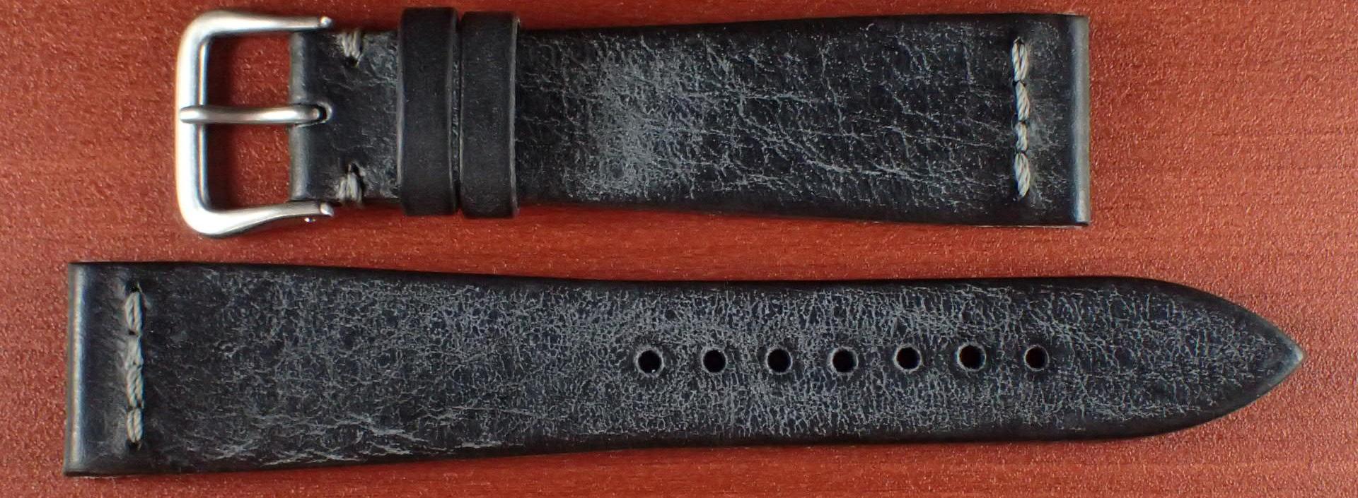 ブライドルレザーベルト ラ・ペルラ・アッズーラ アラスカ 一文字ステッチ ブラック 18、20mm