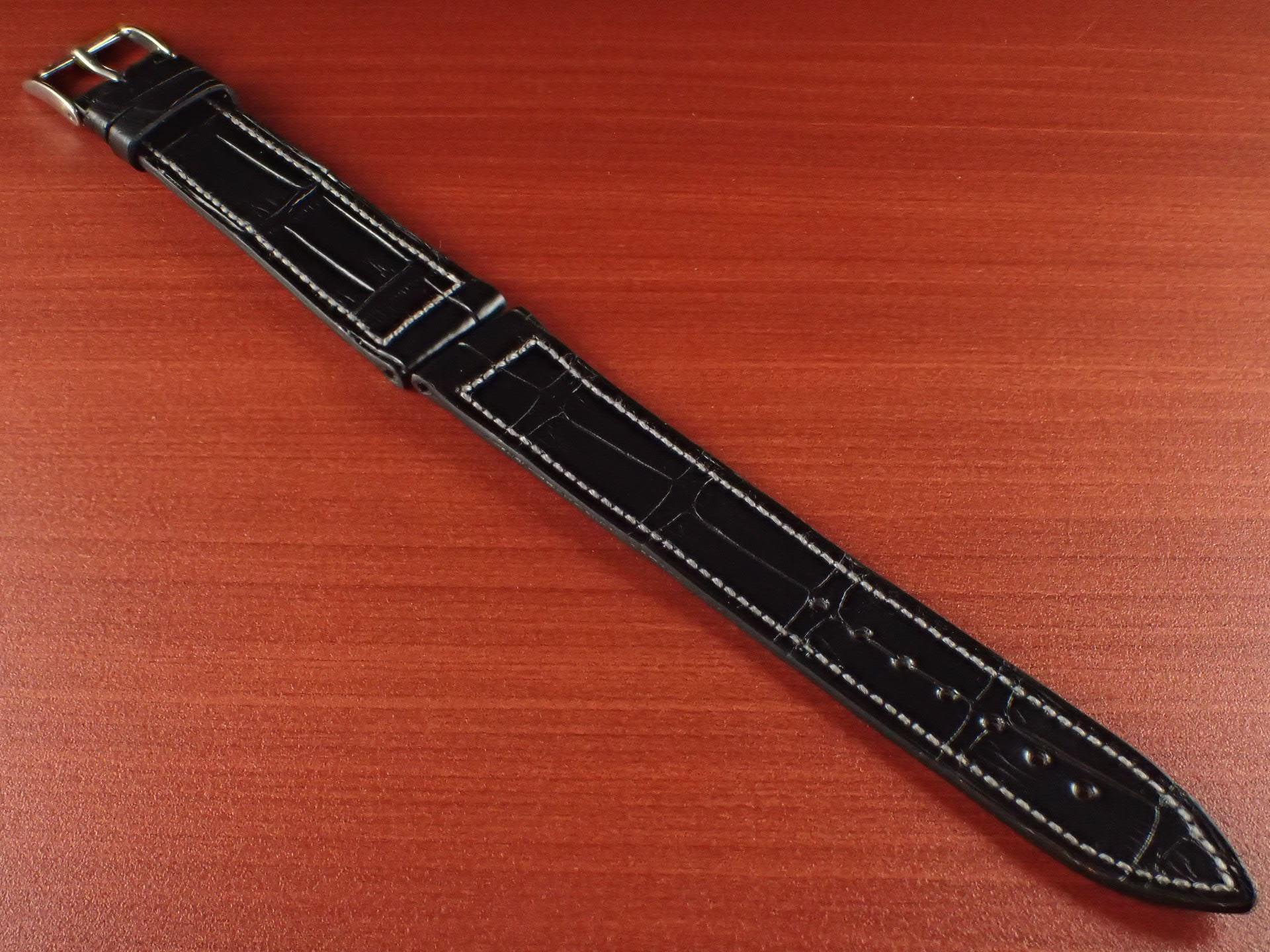 ジャン・クロード ペラン革ベルト クロコダイル ブラック 18mmのメイン写真