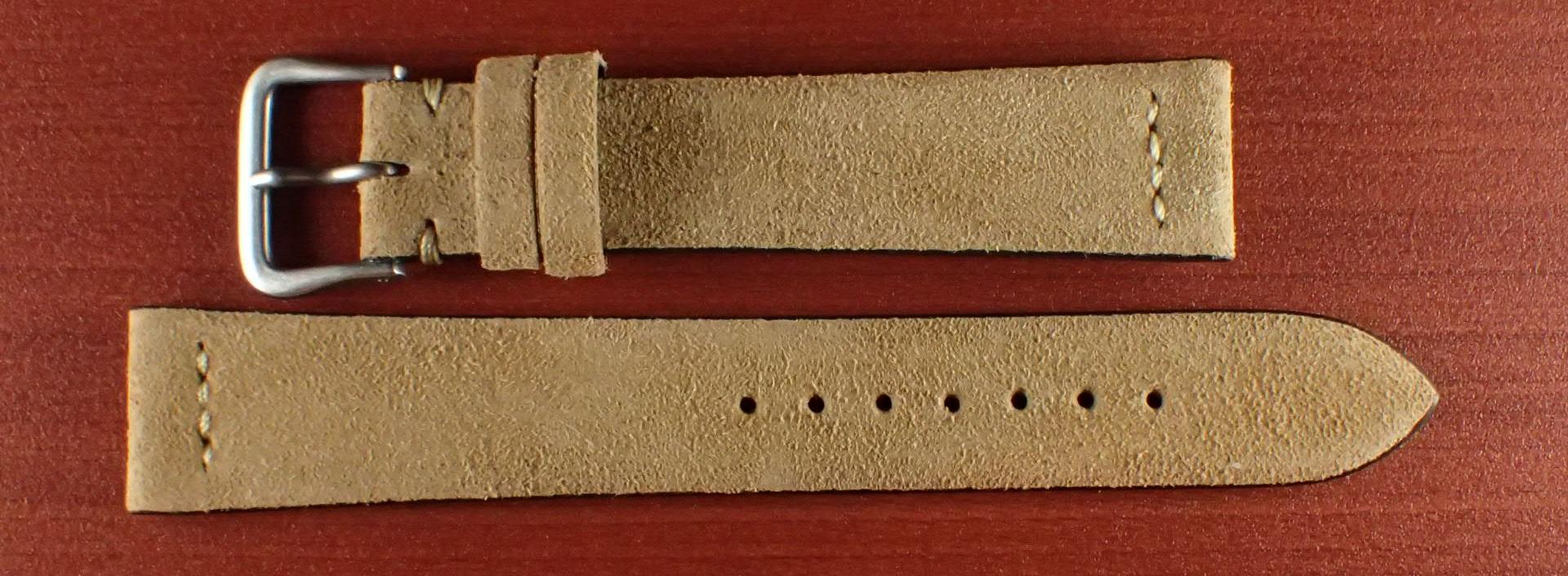 スウェード革ベルト チャールズ・F・ステッド クードゥー 一文字ステッチ ベージュ 18、19、20mm
