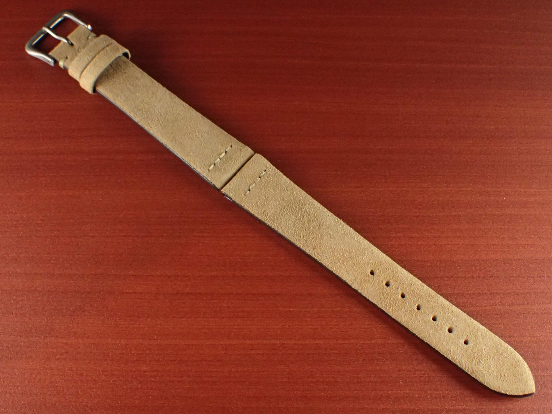 スウェード革ベルト チャールズ・F・ステッド クードゥー 一文字ステッチ ベージュ 18、19、20mmのメイン写真