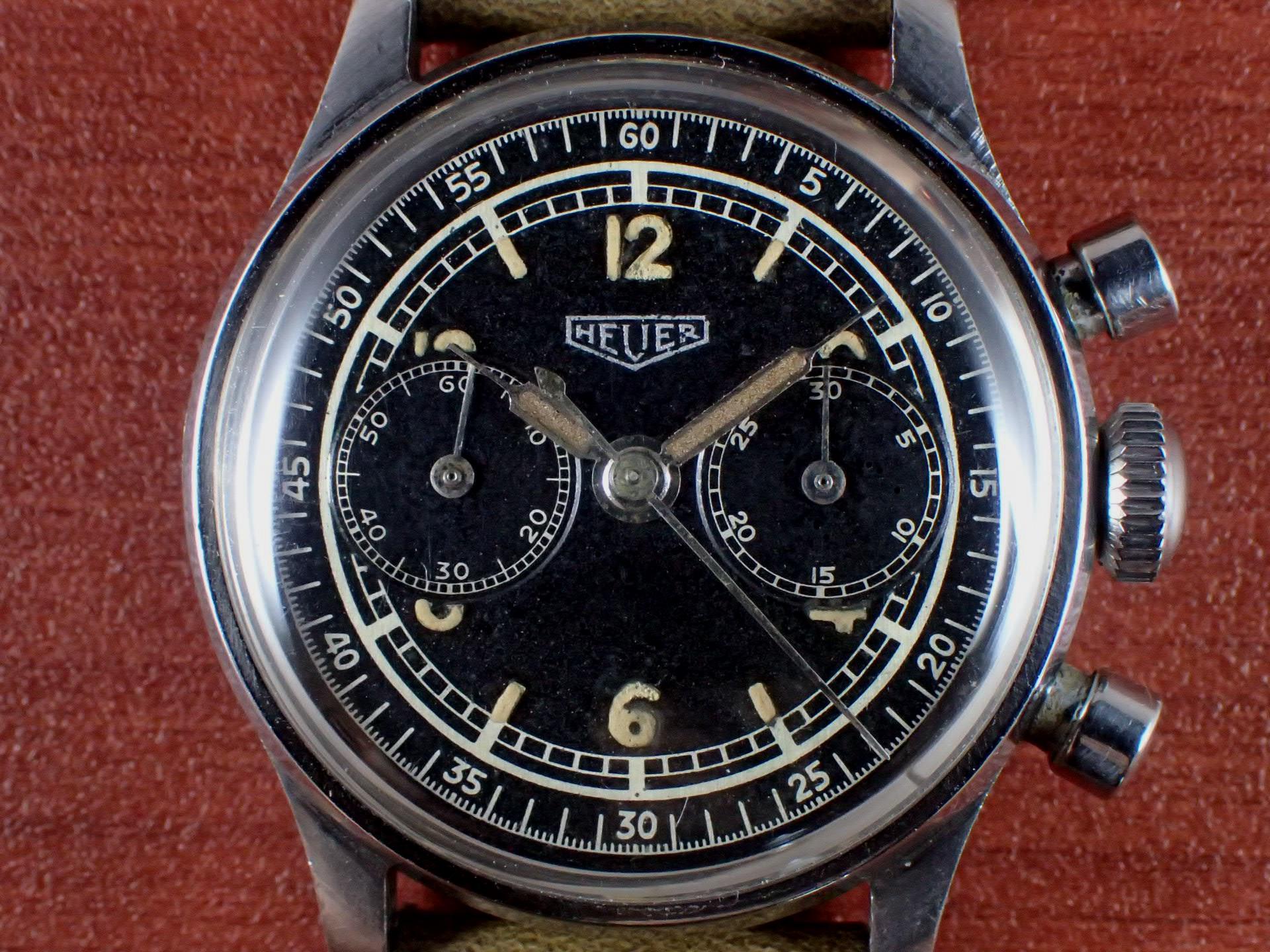 ホイヤー ベビークロノグラフ Cal.Valjoux69 ブラックダイアル 1940年代の写真2枚目