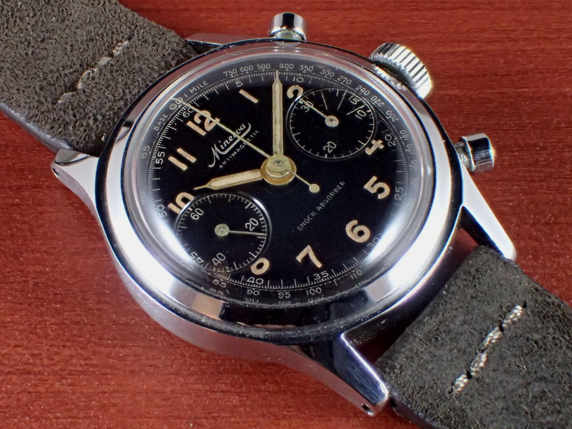 ミネルバ キャリバー13-20CH ブラックミラーダイアル スクリューバック 1940年代 のメイン写真